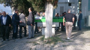 The body of Mehmet's father in the courtyard of a Sakarya mosque.